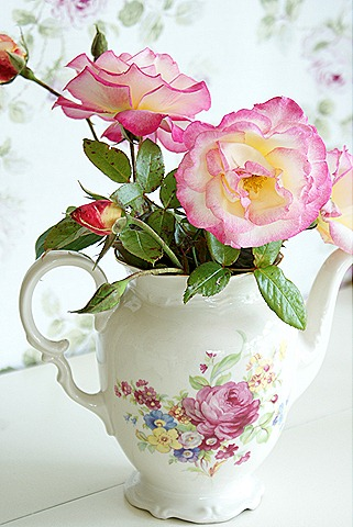 Vintage Tea Pot as a Vase