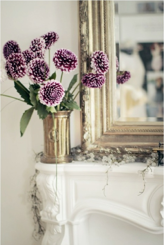 Gilt Edge & Vibrant Purple Flowers