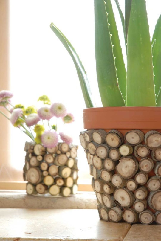 DIY Can & Clay Pot as vases