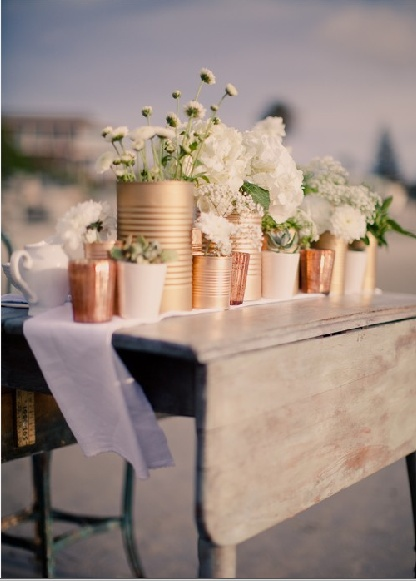 Bronze, Cream & White Tins as Wedding Vases