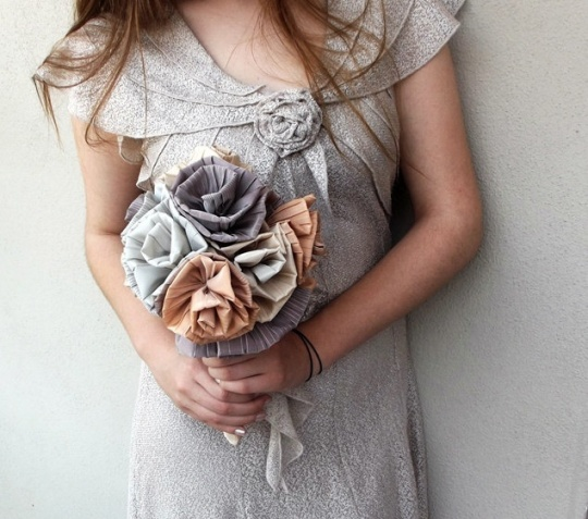 Peach & Grey Cloth Bouquet